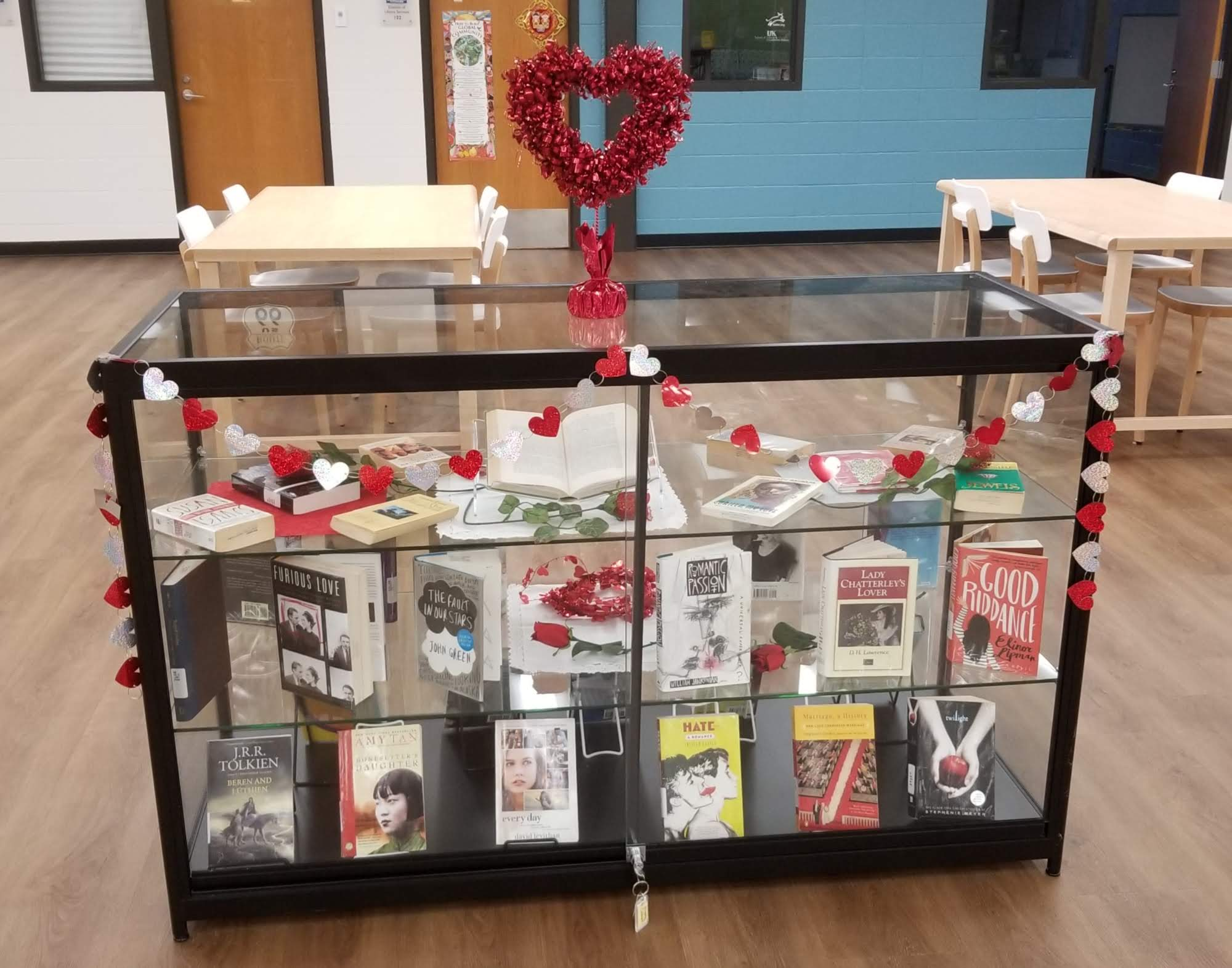 Library Display featuring books on love