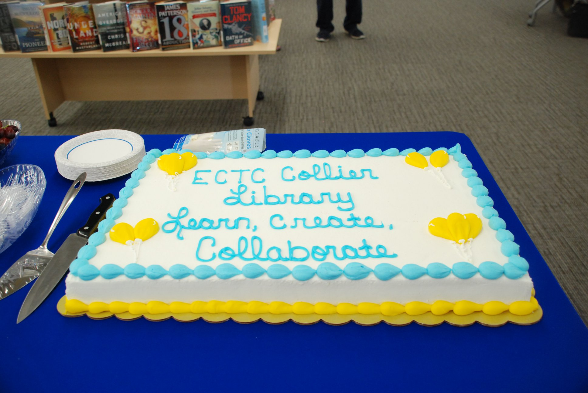 Cake served at ECTC Library Ribbon Cutting