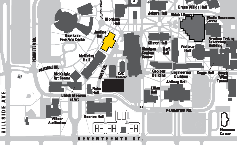 WSU Campus map highlighting the location of Jardine Hall where the Music Library is located.