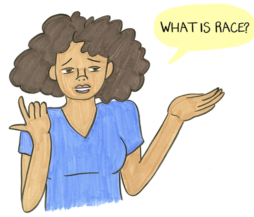 """Drawing of a Black woman asking, """"What is race?"""""""