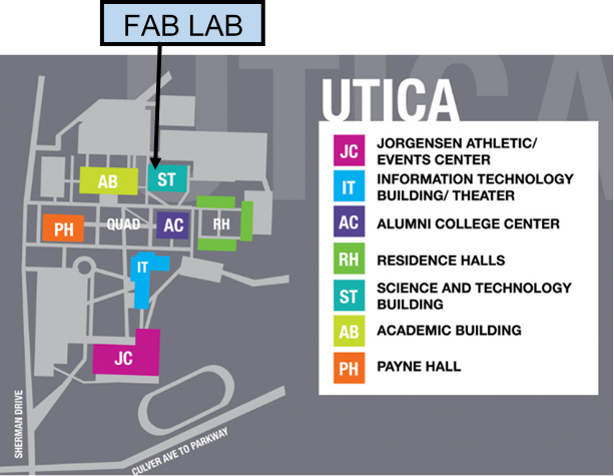 Map of Utica campus