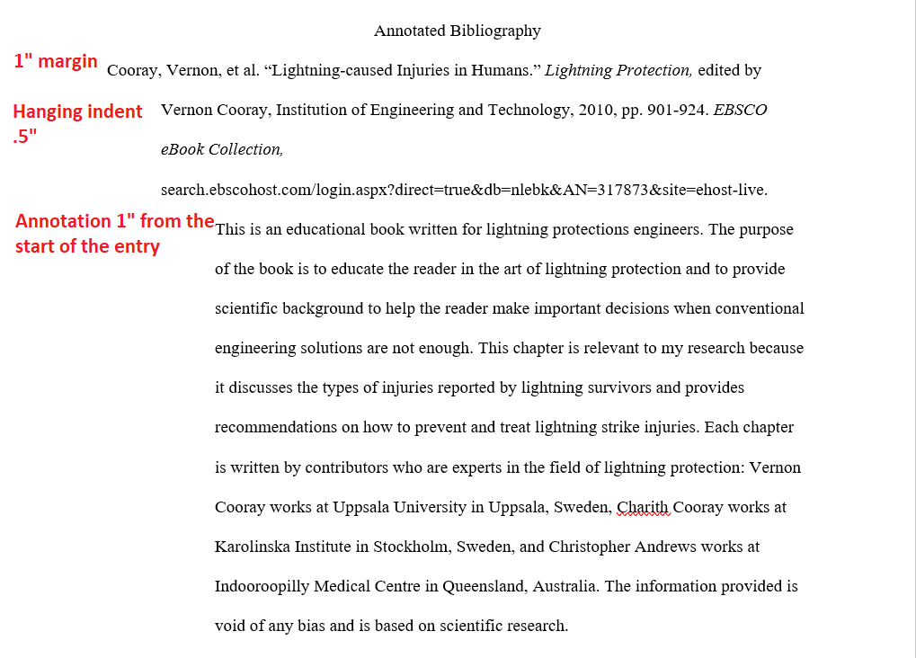 Example of Annotated Bibliography showing indentation for citation and annotation.