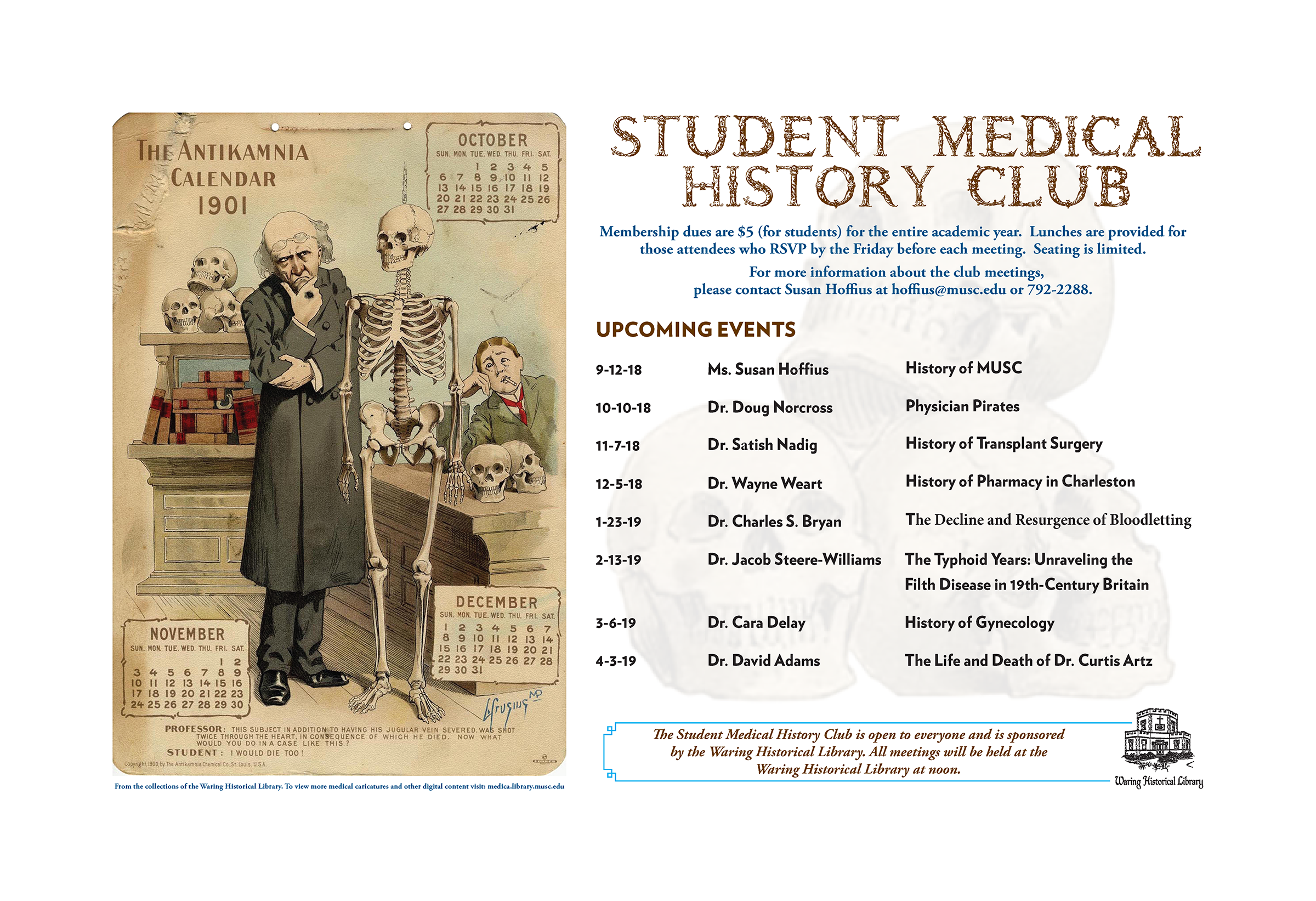 2018/2019 Student Medical History Club Lunch Lecture Series Schedule