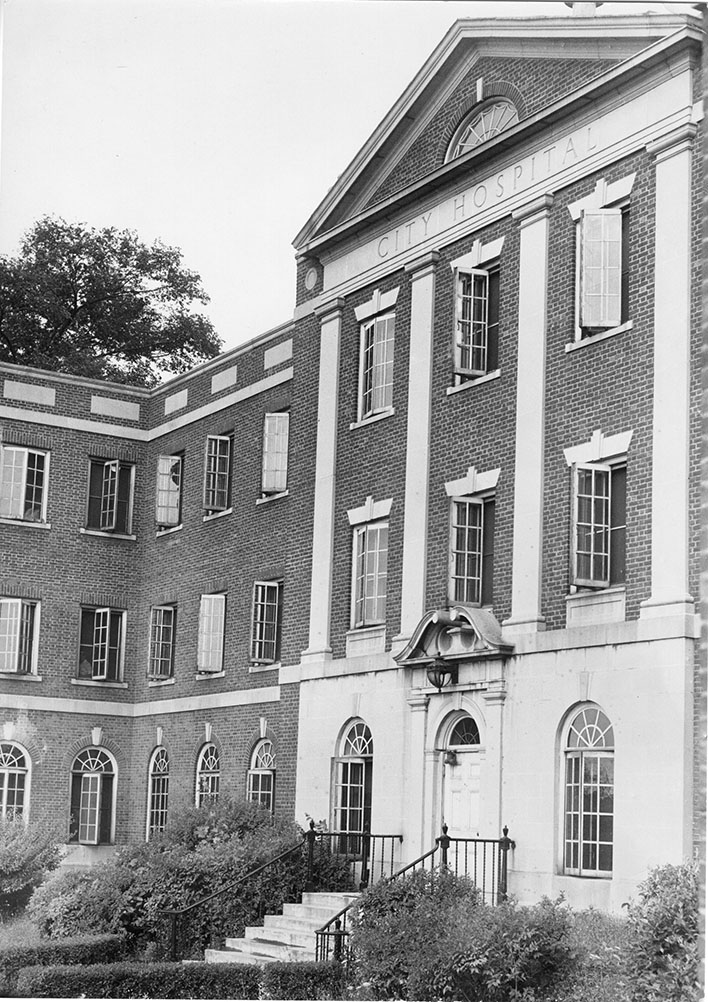 Main entrance to Silverman Hospital (exterior still reads City Hospital)