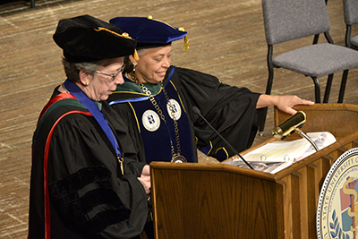 Lynn M. Cleary MD and Danielle Laraque-Arena MD at commencement (2018)