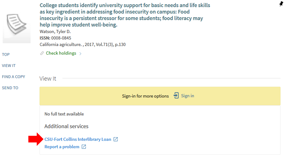 "This image shows the full-text options screen with the option ""CSU-Fort Collins Interlibrary Loan"" highlighted."