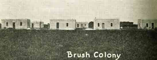 Brush colony of beet workers' adobe houses, 1924
