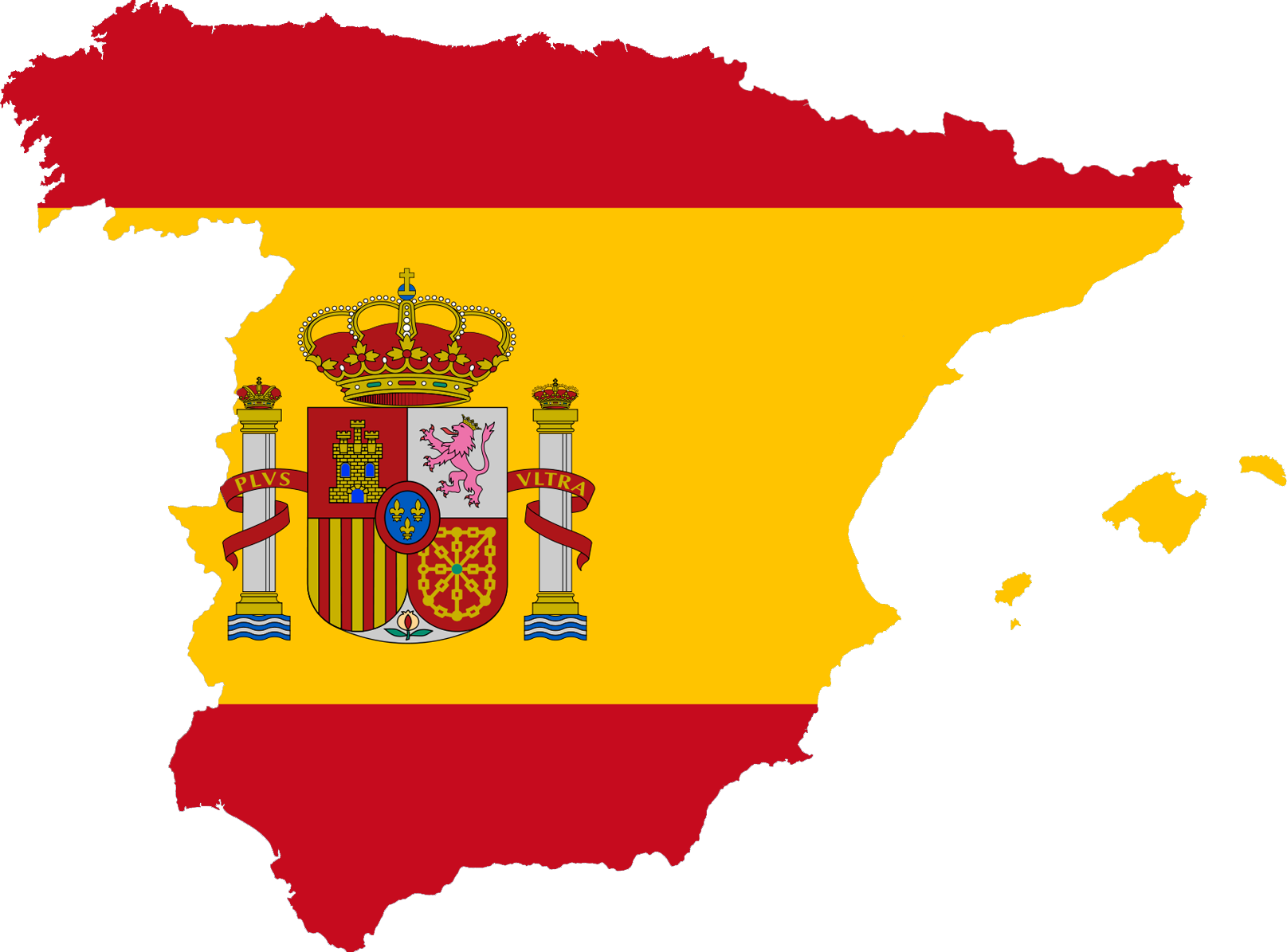 Spanish flag in the shape of the country