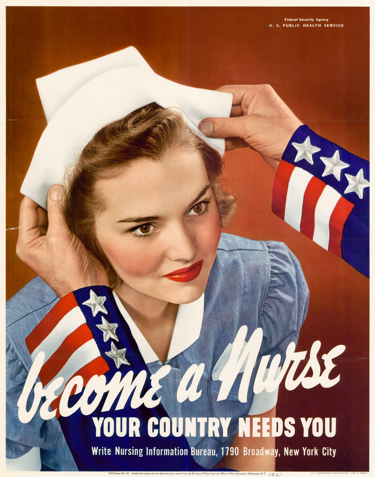 Hands placing a hat on a nurse