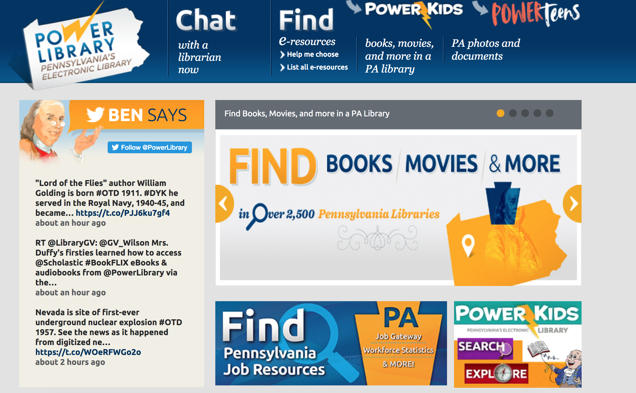 POWER Library homepage