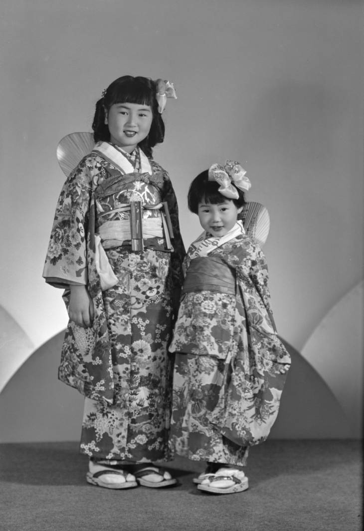 Portrait of little girls in kimono