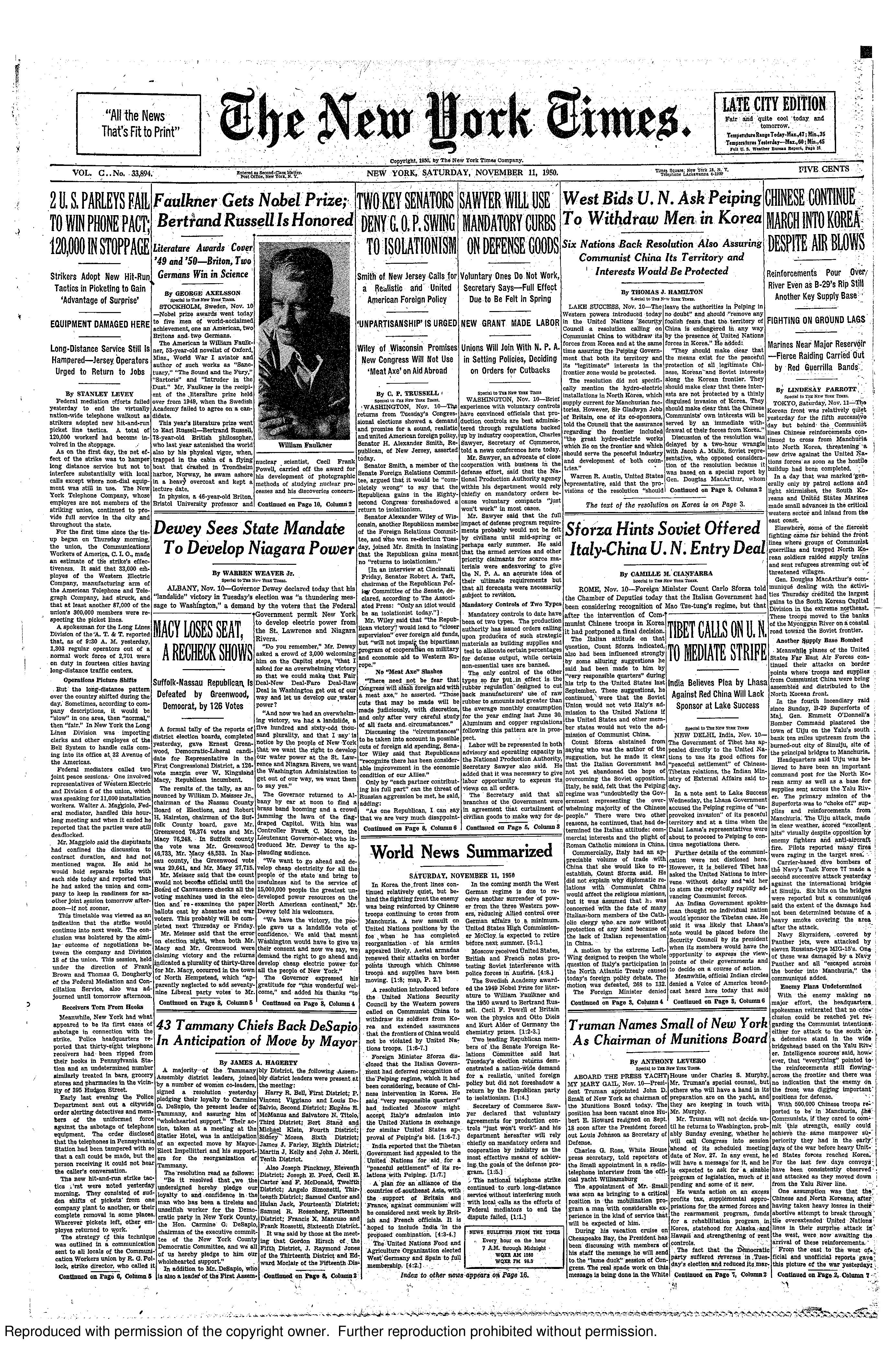 New York Time front page November 11, 1950