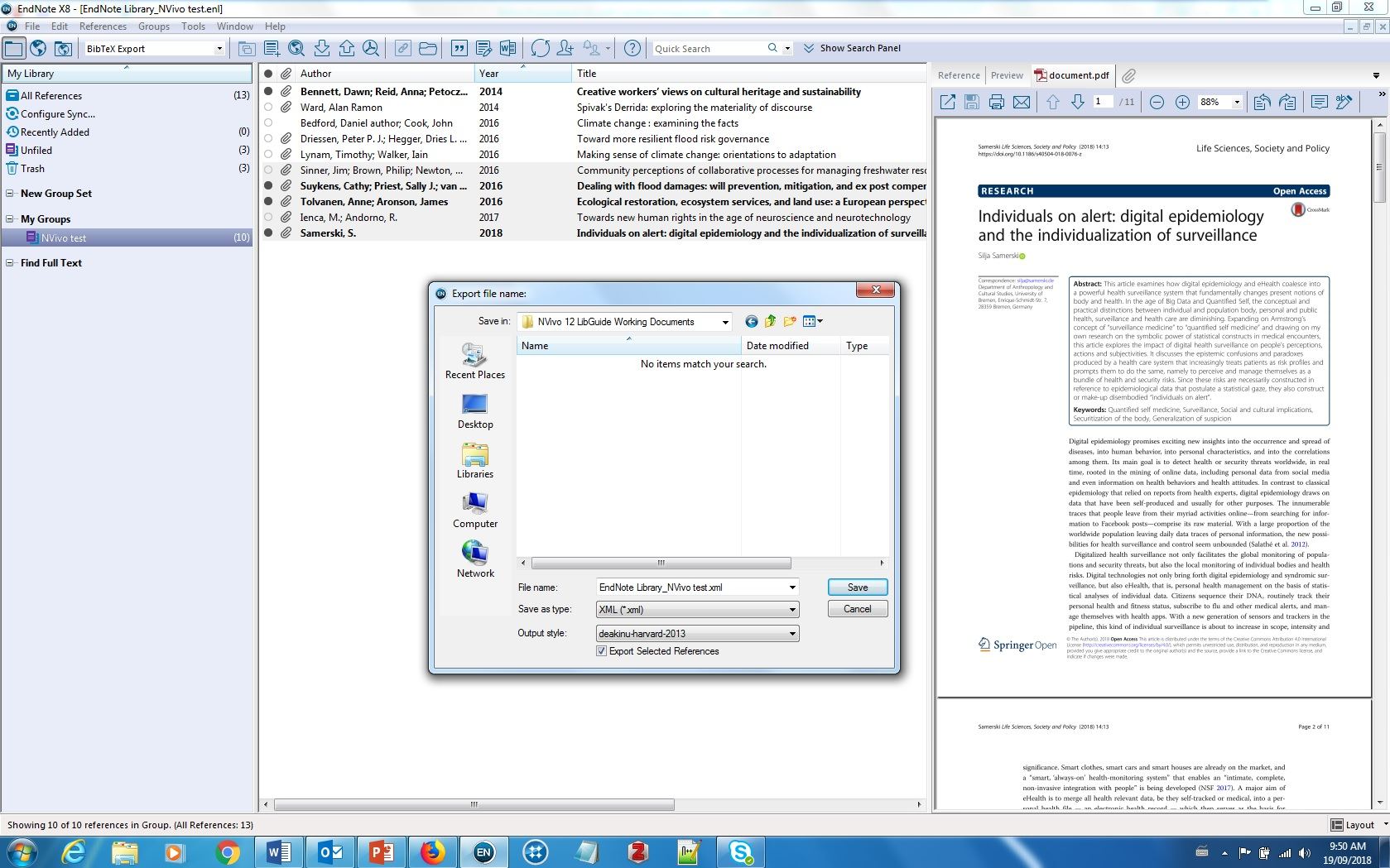 Screenshot of Endnote export screen
