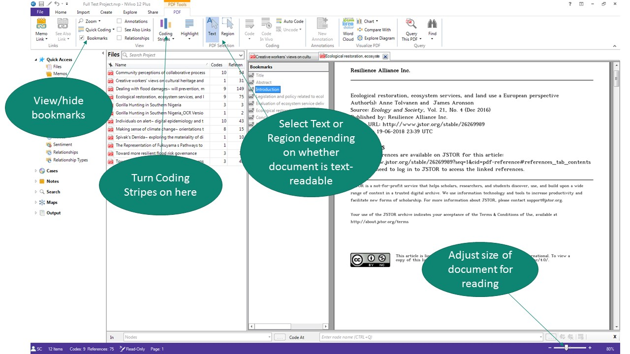 NVivo screenshot showing how to set up screen for coding