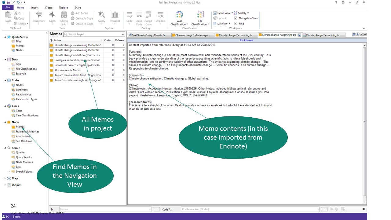 NVivo screenshot showing Memo created using information imported from Endnote.
