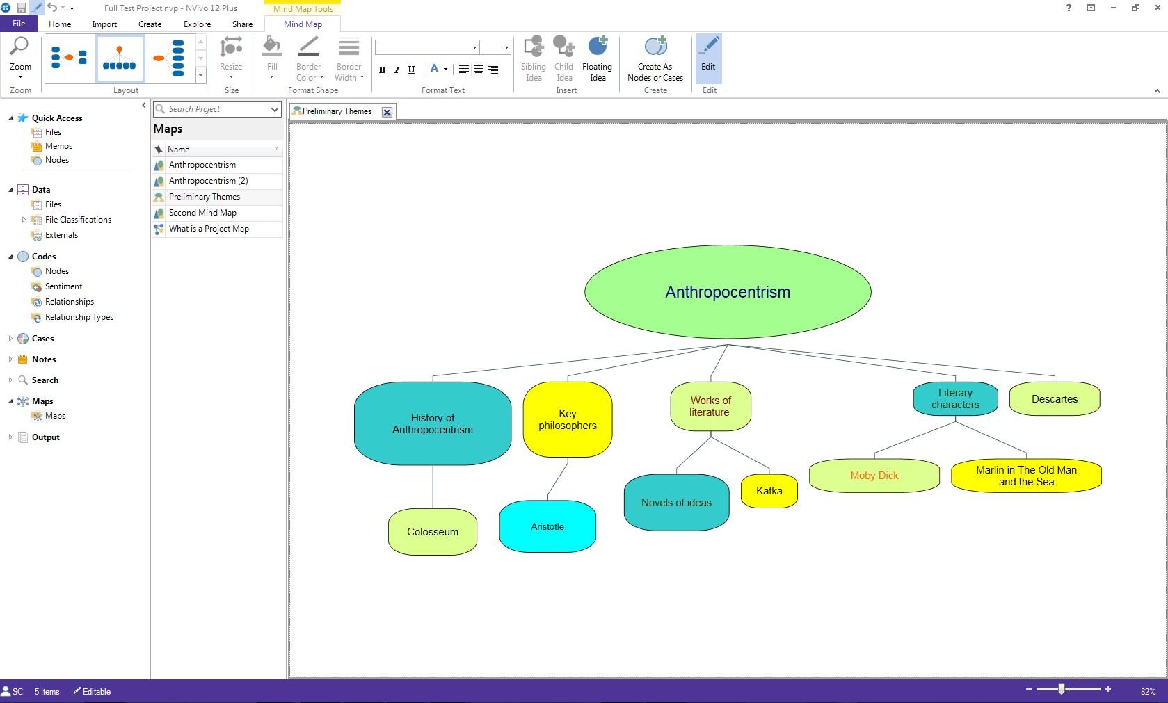 Screenshot of sample NVivo Mind Map