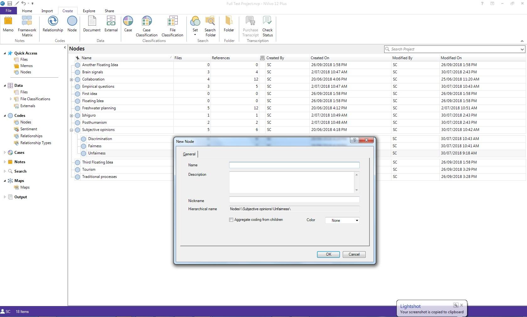 Screenshot of NVivo dialogue box to create a new Node