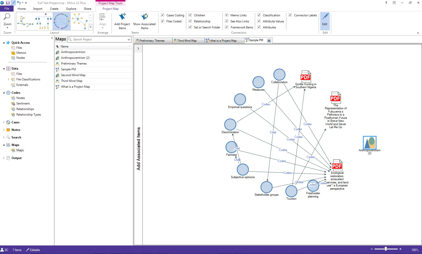 Screenshot of small sample NVivo Project Map