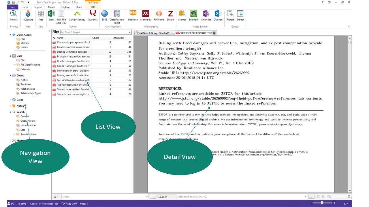NVivo screenshot showing the Navigation View, List View, and Detail View