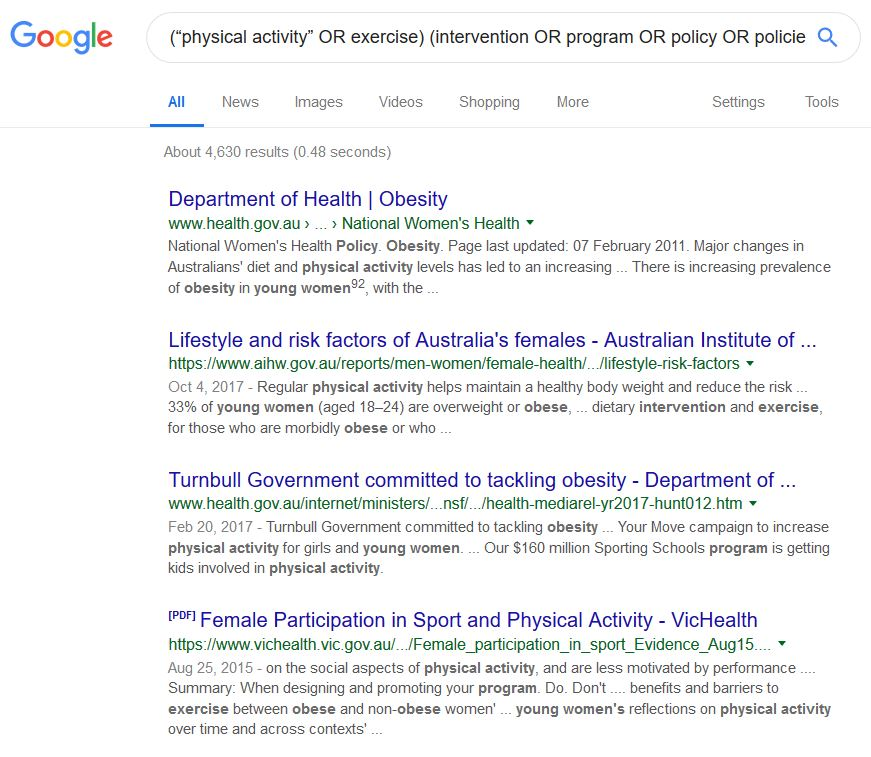 Screen capture of google search with Mei's terms