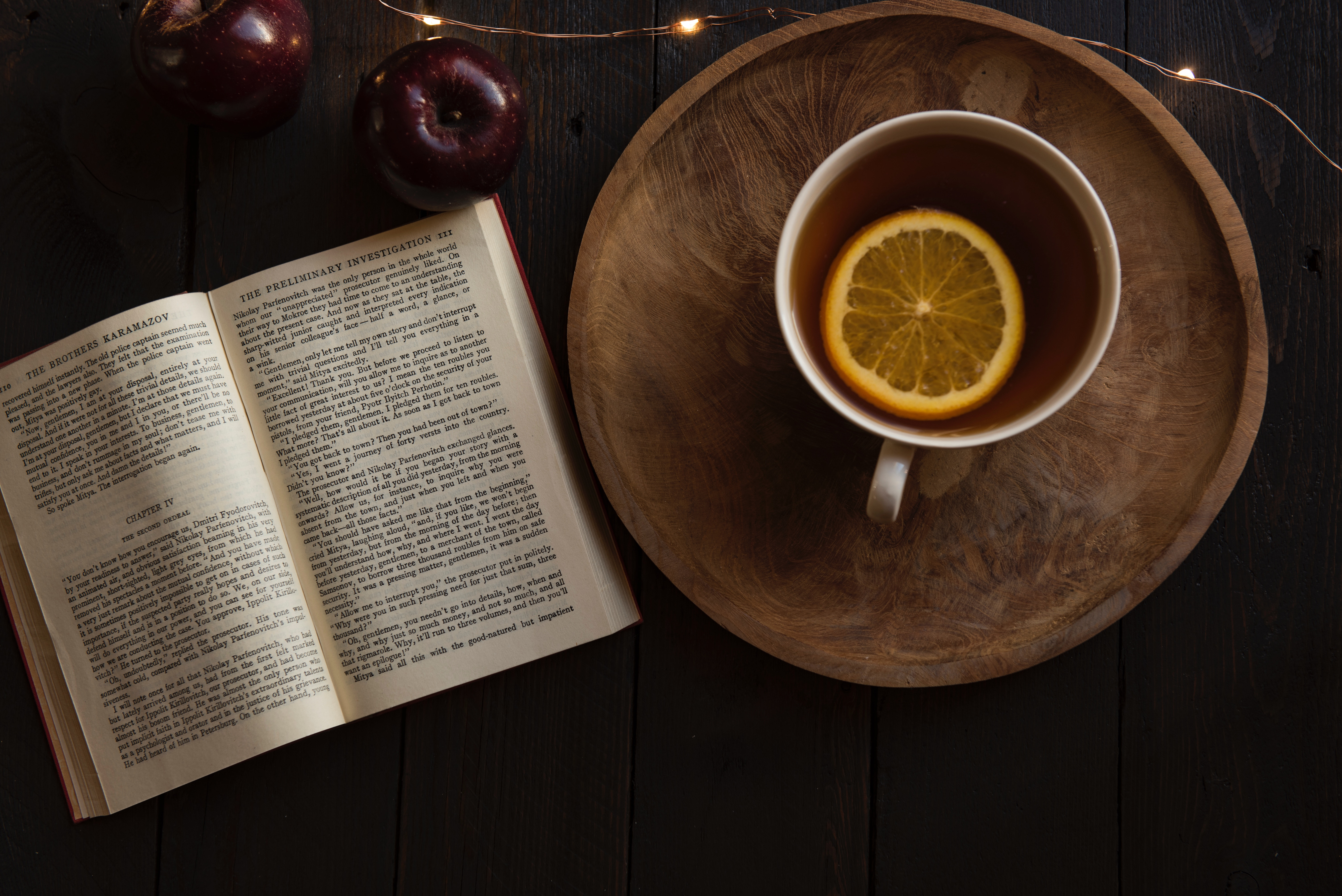 book open with a cup of tea