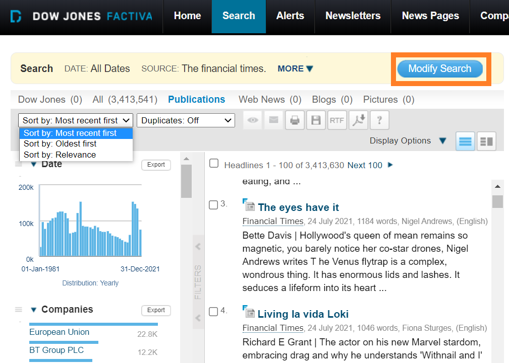 Factiva Search Interface