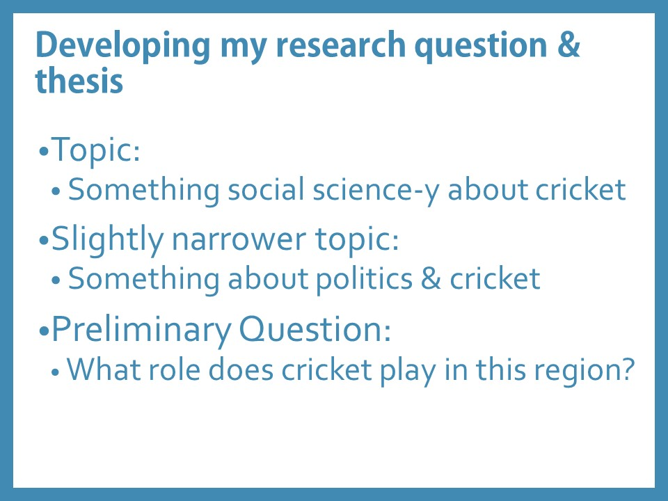 Developing my research question & thesis. Topic:  Something social science-y about cricket Slightly narrower topic:   Something about politics & cricket Preliminary Question:   What role does cricket play in this region?