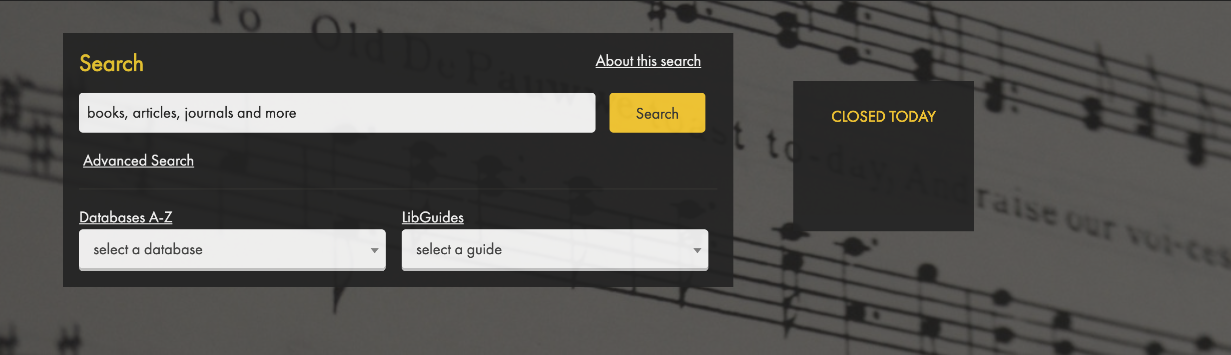 Screenshot of DePauw's Music Library Homepage, displaying Discovery Search