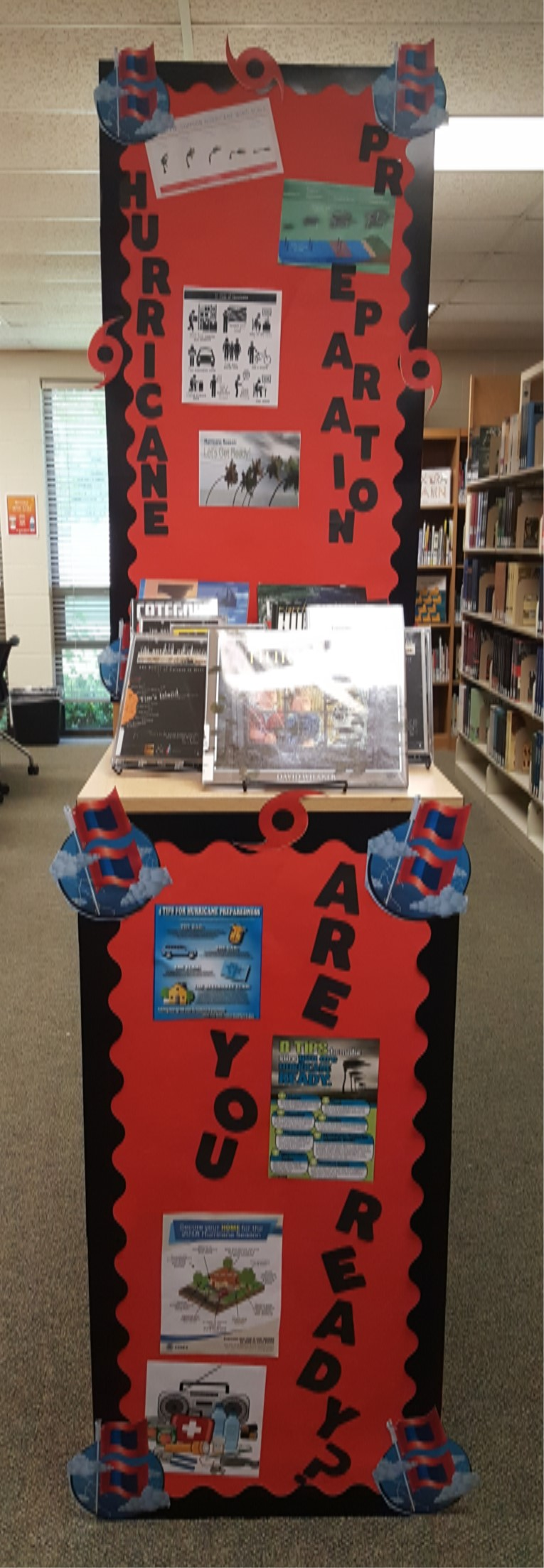 Image:  Library Display for Hurricane Preparedness 2018