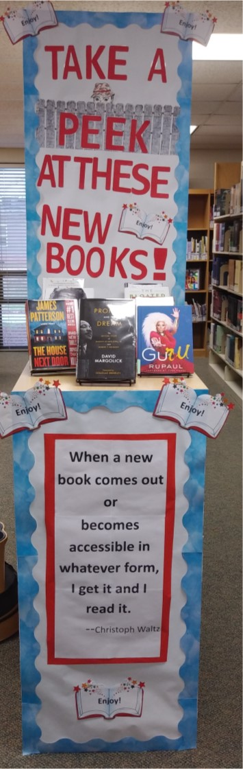 Image:  Display for new library books