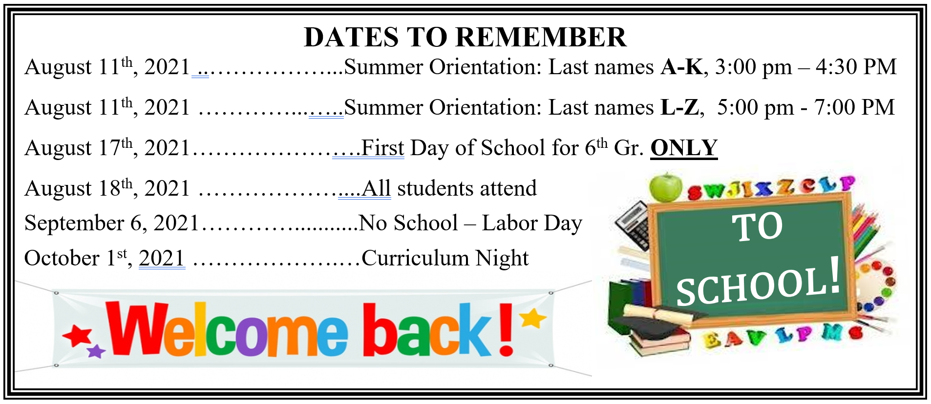 Dates to Remeber