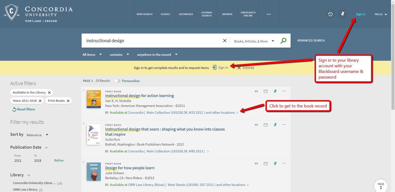Screenshot of catalog results screen