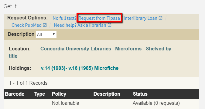 Image of request options in the library catalog