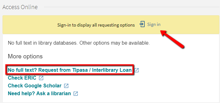 Image of interlibrary loan options in Access Online box