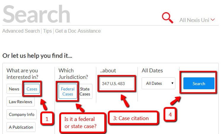 Nexis Uni case law search by case citation screenshot