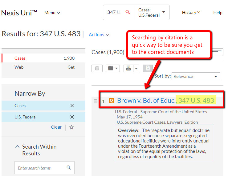 Nexis Uni case law search by citation, results screenshot