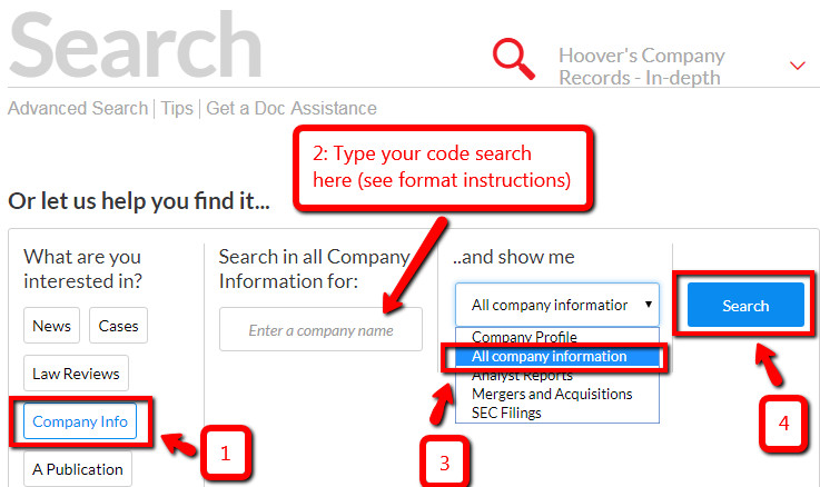 Nexis Uni SIC code search screenshot