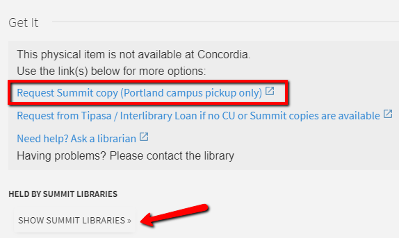 Image of interlibrary loan request options