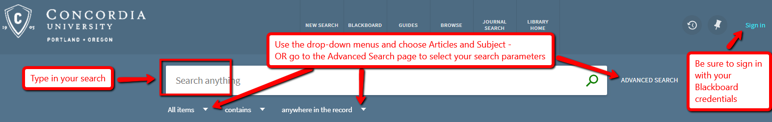 Screenshot of catalog search options and drop down menus