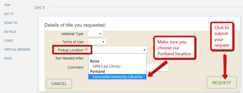 Screenshot of CU copy request final screen