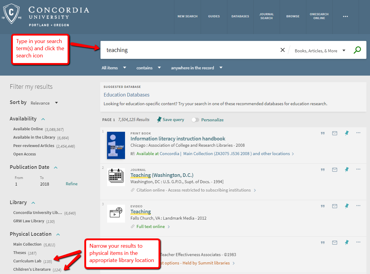 Screenshot of OneSearch and limiting options for results under Physical Location