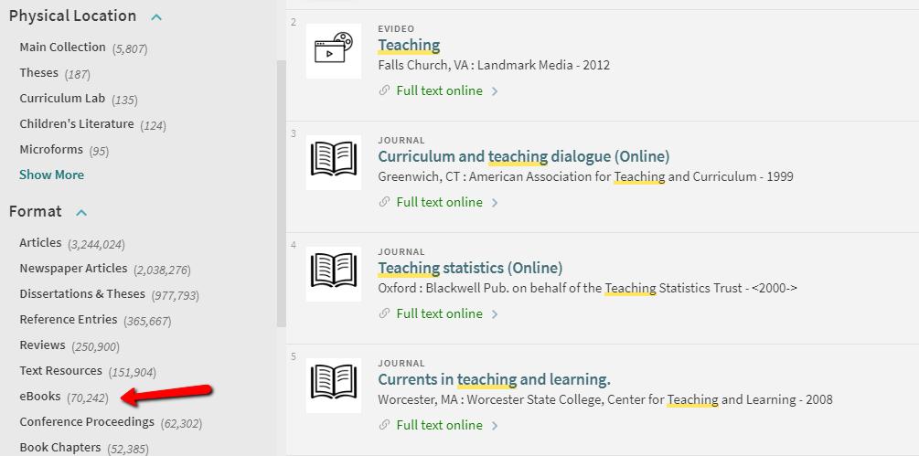 Screenshot of eBooks link under Format on catalog results screen