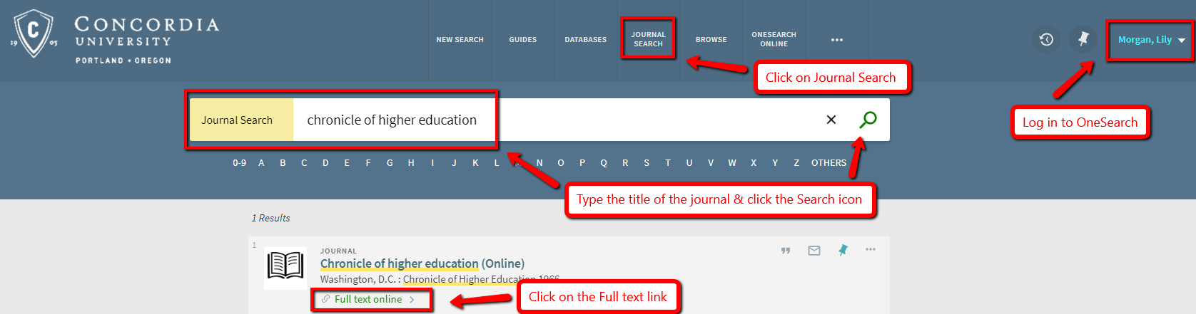Screenshot of Journal Search screen and steps to find the Chronicle of Higher Education