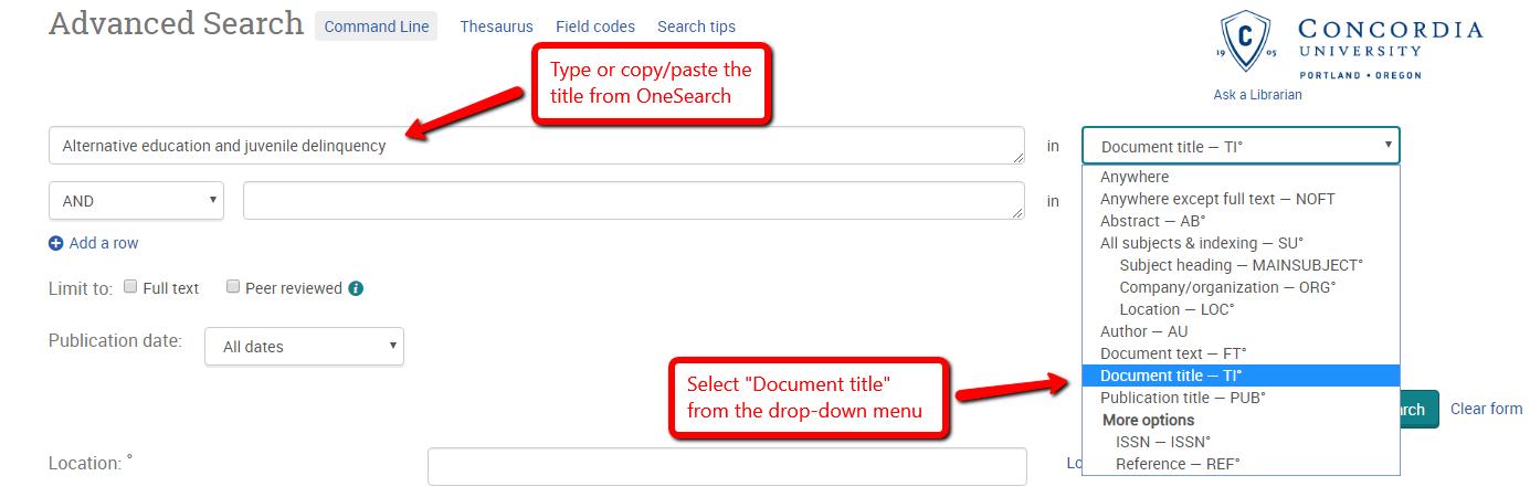 Screenshot of search screen in ProQuest