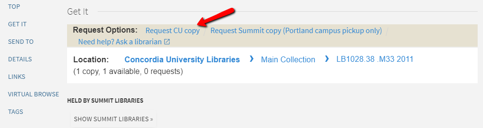 Screenshot of Get It box with Request CU copy link