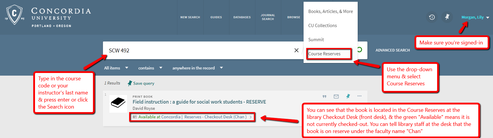 Screenshot of OneSearch screen searching for course reserves