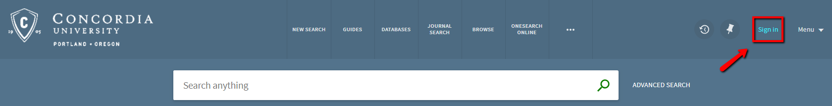 Screenshot of OneSearch sign-in button