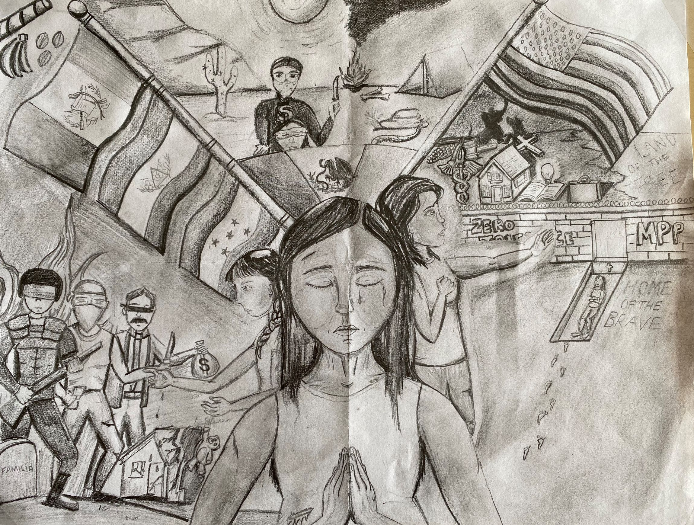 Drawing portraying the transformation of immigrants as they traverse the different terrains and situations to get to the U.S only to be restricted at the South Border.
