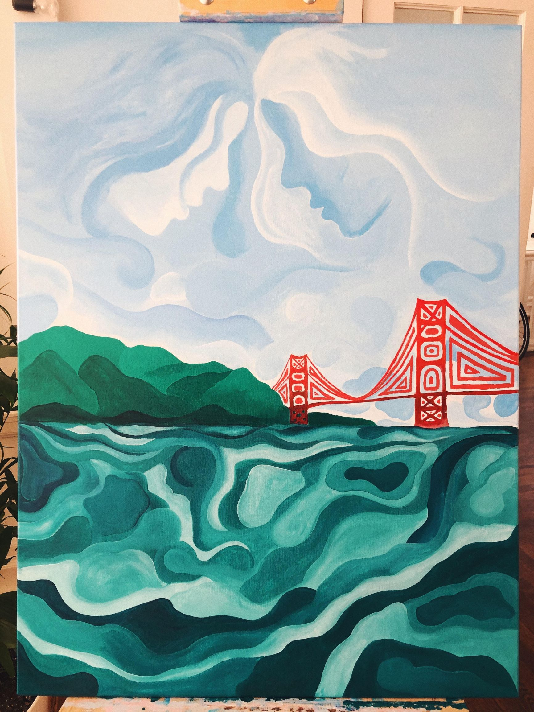 Painting of Golden Gate Bridge with female faces in the clouds