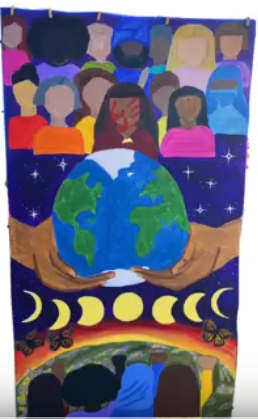 Painting of hands holding Earth